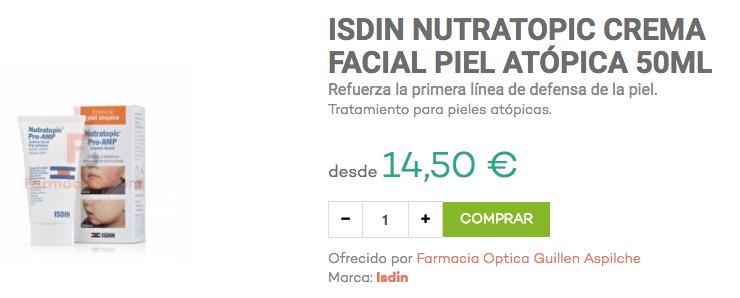 isdin nutratopic crema facial dermatitis atópica bebés farmacias.com