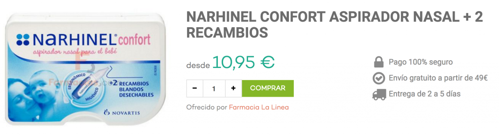 narhinel aspirador mocos bebé farmacias.com
